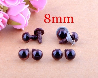 Brown Doll Safety Eyes (8mm)