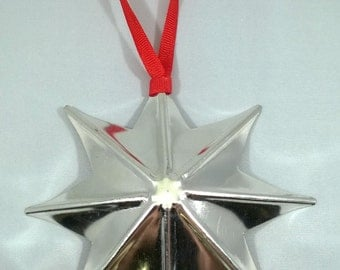 8-point Tin Star Ornament, Handmade, Decoration, Gift under 10