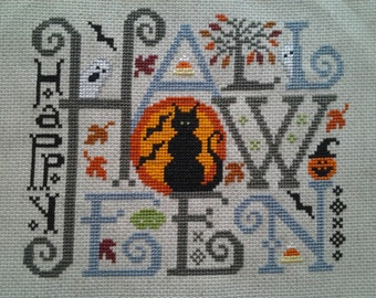 "Finished Cross Stitch ""Happy Halloween"" Design by Silver Creek Samplers"
