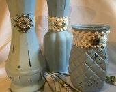 Shabby Chic Vintage Blue Vases