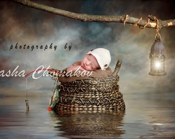 digital backdrop , background gone fishing boys newborn nautical sea fairy tail