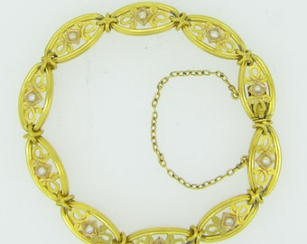 French Art Nouveau Bracelet with naturals pearls, 18kt gold, circa 1900, by Joseph ASSIER