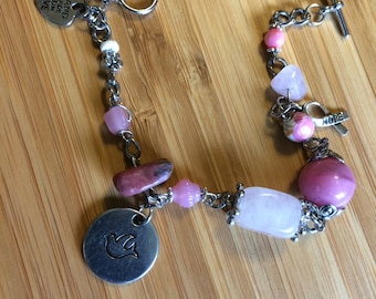 """Breast Cancer Awareness """"Hope"""" Bracelet with gemstones and glass beads"""