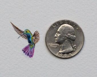 Original miniature watercolor painting of a Hummingbird.