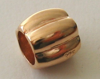 Genuine SOLID 9K 9ct ROSE GOLD Charm Serenity Slice Bead