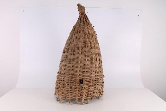Antique primitive bee skep hand made basket wicker hive - Wicker beehive basket ...