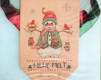 Lorri Birmingham Designs ** WILLIE MELT ** Counted Cross Stitch Snowman Bell Pull Kit - walnut rod included - complete kit K224