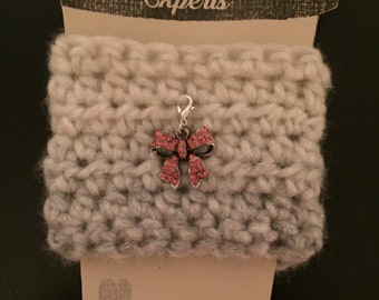 Pink Bow Crochet Coffee Cozy
