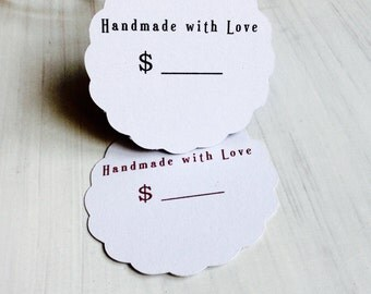 HANDMADE WITH LOVE tags, Shop tags, Unique Paper tags, round shaped tags, handmade paper tags, all currencies available