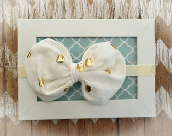Ivory and Gold Bubble Bow/knit fabric/ polka dots/ Elastic Headband/ Girls Headband/ Baby headband