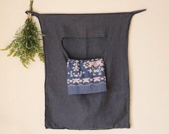 hanging linen laundry bag, linen bag, storage, hanging bag, charcoal linen