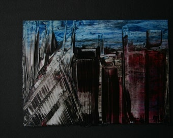 Dark gothic Skyscrapers Encaustic by Mary