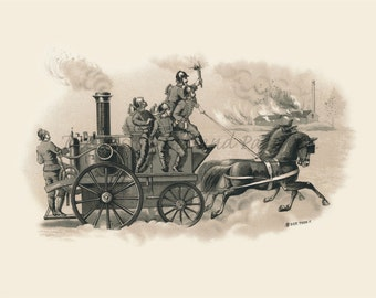 Horse Drawn Fire Wagon in Action Vintage Fireman Antique Advertising Art HQ 11x14 Limited Edition Giclee Firefighter Wall Decor Poster Print