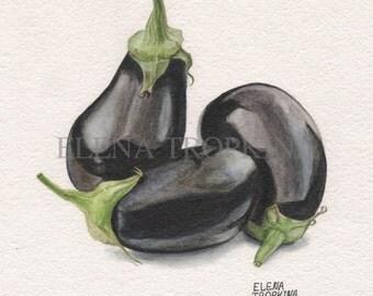 Eggplants. Watercolor. Giclee