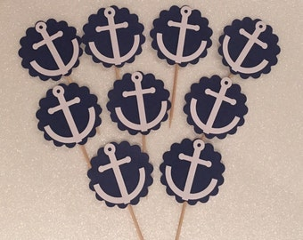 24 x Nautica/ anchor cupcake toppers