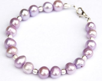 Freshwater pearl bracelet - purple pearls - purple and silver bracelet