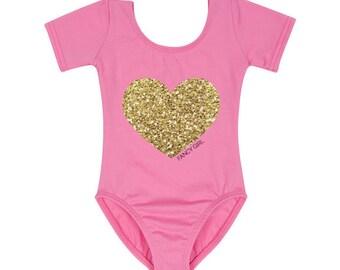 Bubblegum Leotard with Gold Glitter Heart