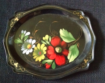 Antique European Tole Tray 1900s Hand Painted