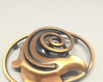 Copper Swirl Brooch