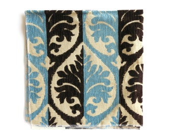 Blue and Brown Chenille Damask Upholstery Fabric