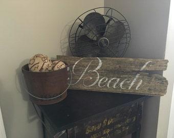Beach sign made on barn wood