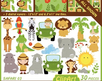Safari friends, jungle animals, clip art and digital paper set - digital clip art, safari animals, jungle birthday party - instant download