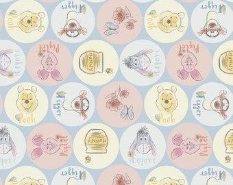 "Disney Fabric - Disney Winnie the Pooh Fabric - Friend Names 100% cotton fabric 44"" wide, SC392"