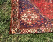 "Vintage Persian Rug, Hand-Knotted Shiraz Rug (Red, Cream, Purple) 240cm x 148cm (7'9"" x 4'9"")"