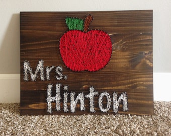 apple string art teachers appreciation gift custom name wood board sign wall hanging classroom decor home decorations Red White rustic coach