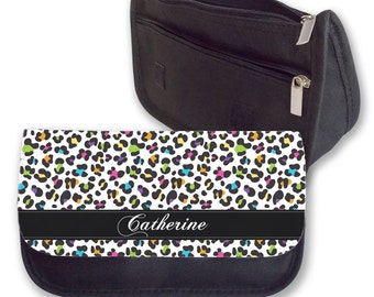 Personalised Pencil Case Cheetah Print Rainbow Animal Print Make Up Bag Purse