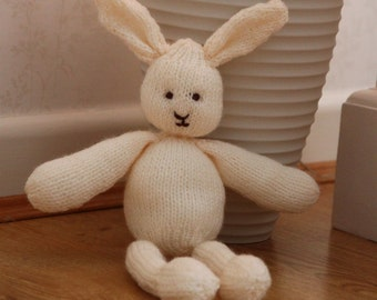 Hand Knitted Cream Rabbit - Small