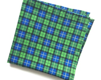 Spring Green and Blue Plaid Pocket Square