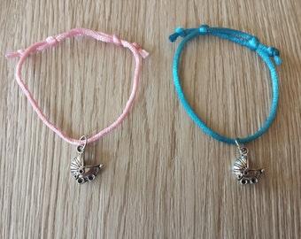 10 Pieces Macrame Friendship Bracelets - Baby Carruage Bracelets. Baby Shower Party Favors
