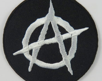 Anarchy Symbol/Sign Iron On/ Sew On Embroidered Cloth Patch Badge Appliqué punk rocker goth emo anarchist 70s 80s theme Size: 6.8cm