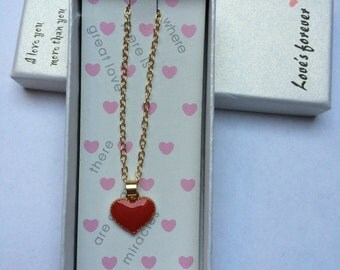 Red Heart Necklace Gold
