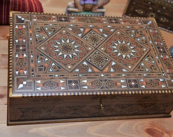 wooden Jewelry Box, Jewelry Box, Multipurpose wooden Box, mother of pearl, Syrian mosaic, wood box, marquetry wood box