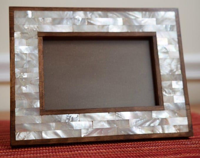 "Picture frame 11"" X 9"", Wooden Frames, Carving wood, Photo Frame, Wood frame, Wooden Home Decor, Marquetry wood frame, Mother of pearl frame"