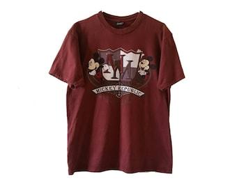 Vintage 90s Mickey Mouse T-Shirt • Glittery Mickey Republic Disneyland Shirt • Size LARGE • Vintage Disney Cartoon T-Shirt