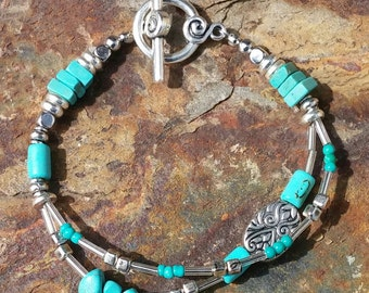 double strand turquoise and silver bracelet with toggle clasp