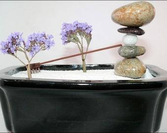 "Zen Garden with Cairn. One-of-a-kind! 11 of 80 in the ""Horai"" series. Rock Garden Feng Shui"