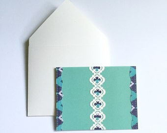 Stationery cards, blank note cards, thank you cards, A2 envelopes, stationery gift set, navy and green stationery cards, stationary paper