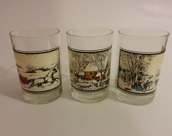 Vintage 1978 Collectible Set of Three Currier & Ives Arby's Collectible Drinking Glasses