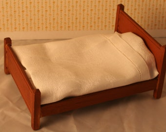 Miniature Wooden Bed for dollhouse, 1 to 1 scale,