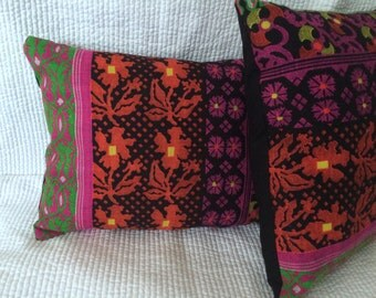 one  12x16 pillow vintage fabric colorful home decor