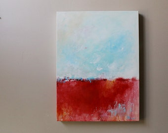 painting on canvas,landscape painting,Original Painting,Acrylic Painting,red,sky,blue,minimal Abstract