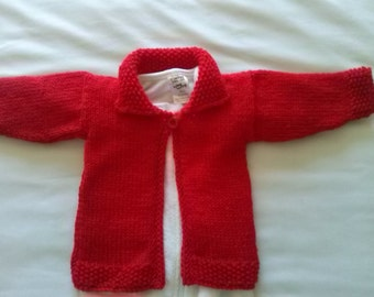 Baby Girls Red Knitted Jacket/Coat/Cardigan Size 0-3 Months Size 000 or Size 3-6 Months (00 approx) other colours available on request.