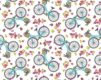 BTHY- Around Town by Small Factory from Studio e, 2944-01, White Bicycles, Pink & Blue Bikes with green baskets of flowers on a floral white