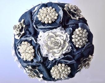 jeans brocheboeket, brooch bouquet , wedding flowers
