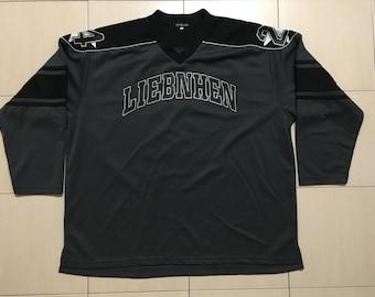 Vintage 90's Liebnhen Black Sport Classic Design Skate Sweat Shirt Sweater Varsity Jacket Size 2L #A535