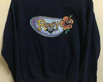 Vintage 90's Roxy Floral Black Classic Design Skate Sweat Shirt Sweater Varsity Jacket Size M #A78